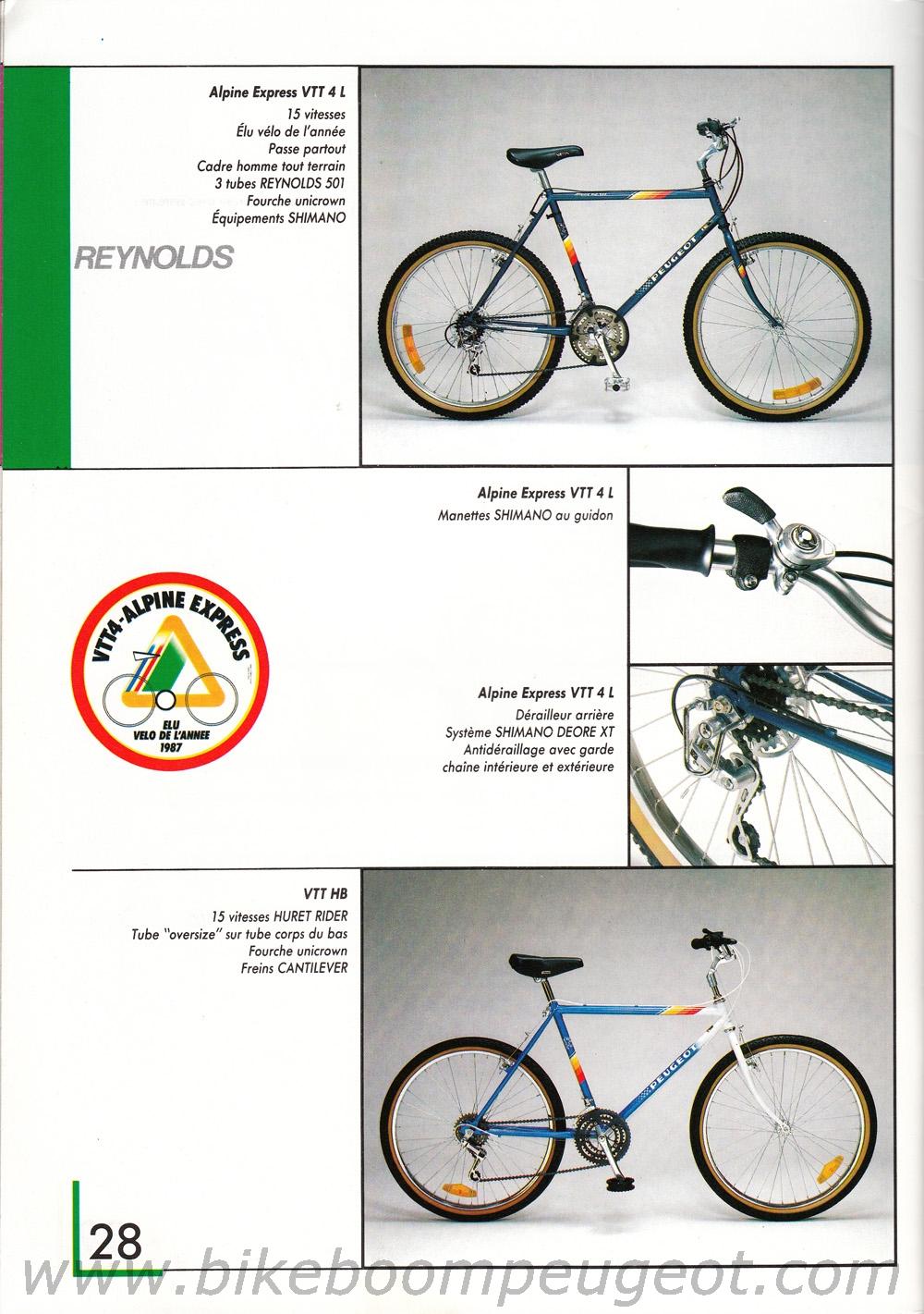 VTT Peugeot Alpine Express 11/1987 Peugeot%201988%20France%20Brochure%20VTT4L,%20VTTHB