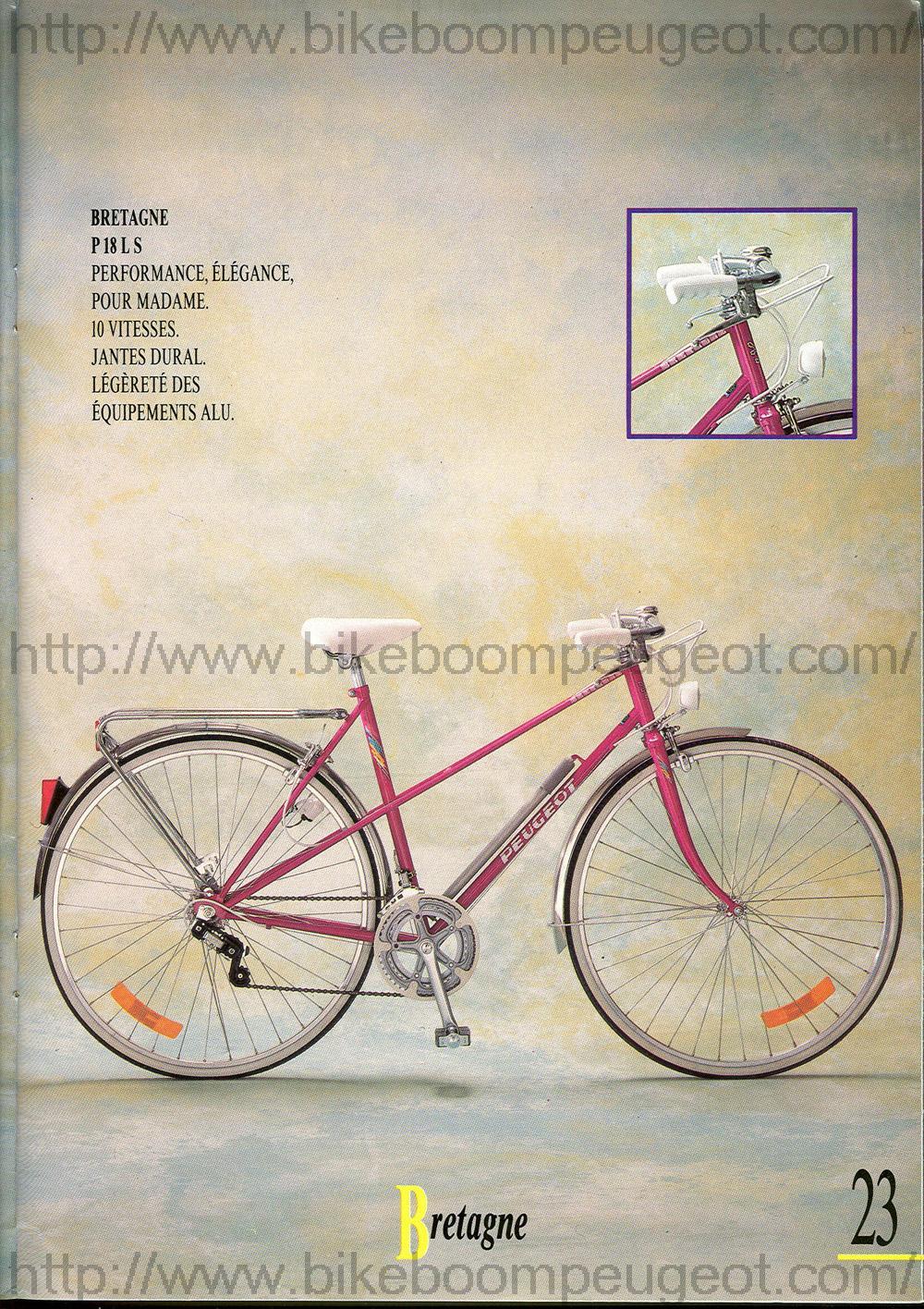 Peugeot Bretagne Rose Metallise HLE P18LS  (custom) Peugeot_1989_France_Brochure_Bretagne_BikeBoomPeugeot